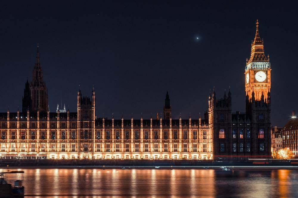 The Houses of Parliament in London at night