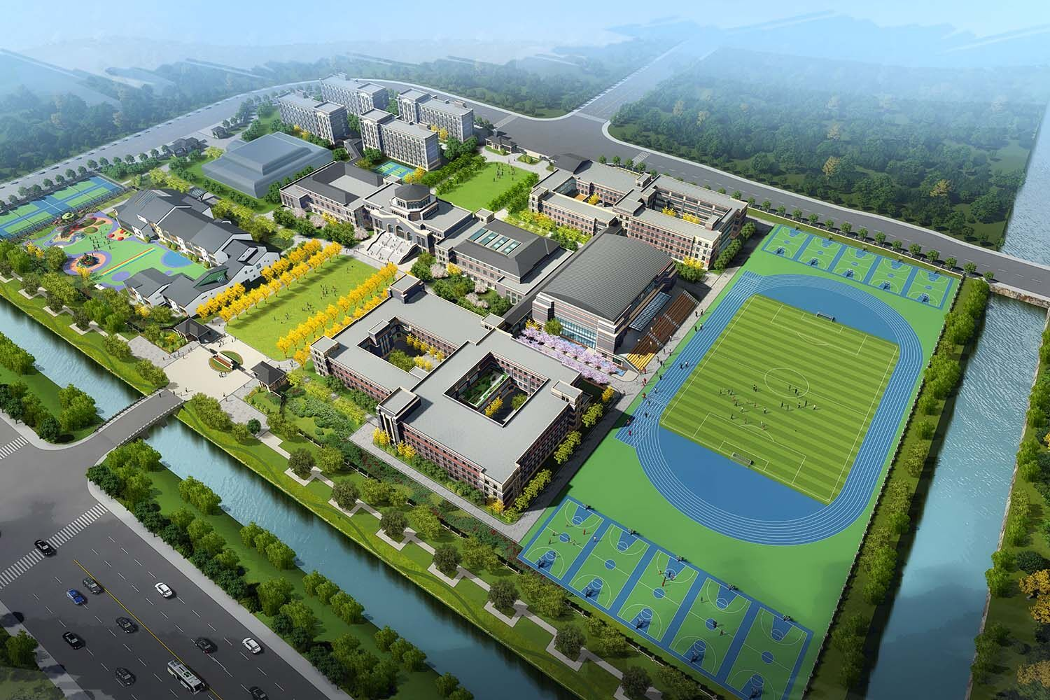 An aerial artist's impression of the new school