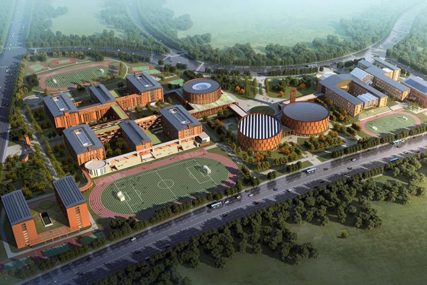 An aerial shot of the Beijing School campus