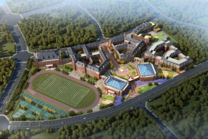 Aerial shot of a school campus
